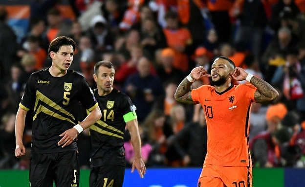 Memphis Depay twice scored and assisted on the night for the Netherlands.