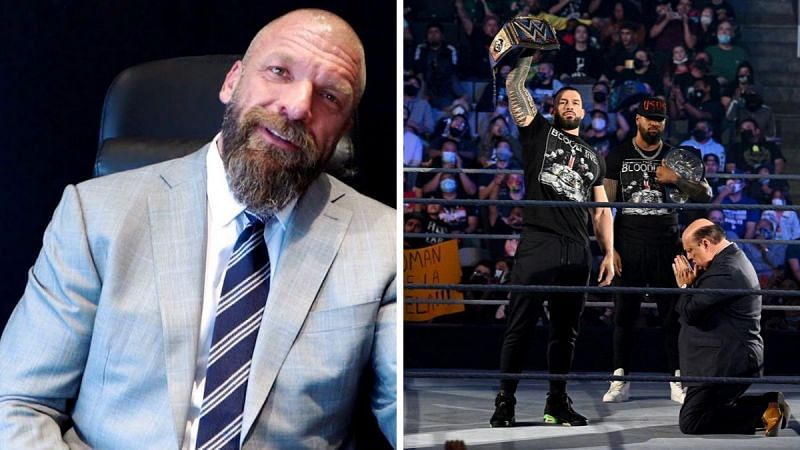 Triple H (left); Roman Reigns on SmackDown (right)