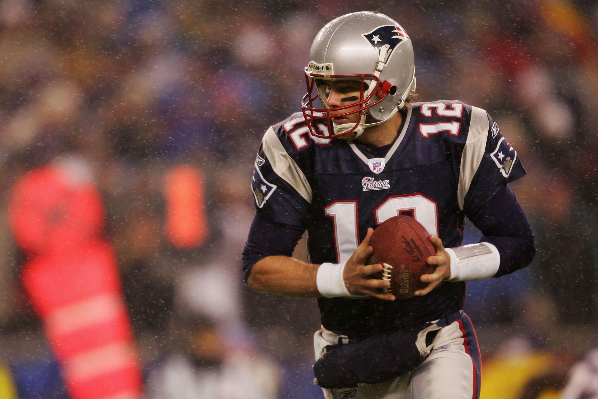 Tom Brady playing for the New England Patriots in 2005