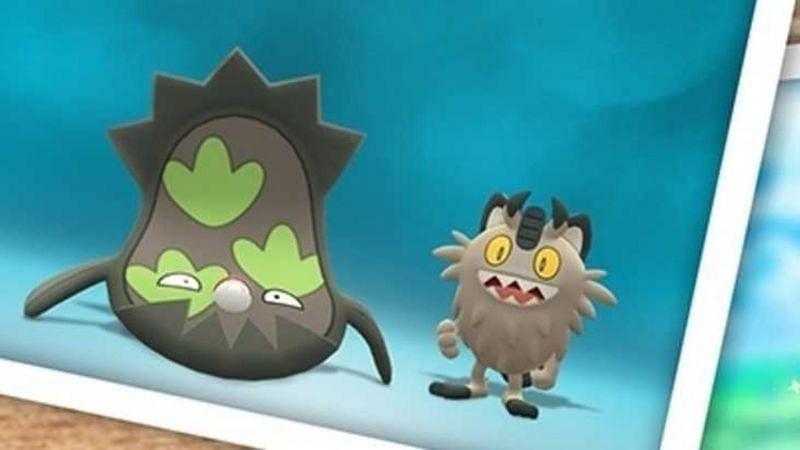 Galarian Stunfisk alongside Galarian Meowth promoting their release in Pokemon GO (Image via Niantic)