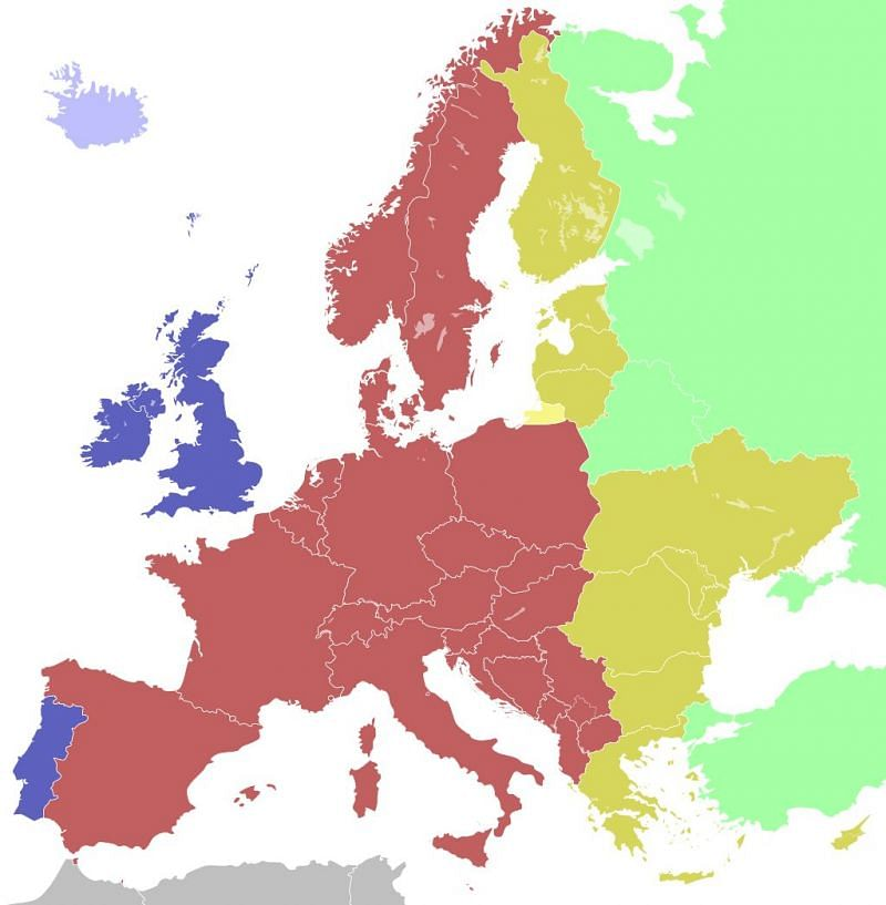 European timezones being colored coded for convenience (Image via Wikipedia)