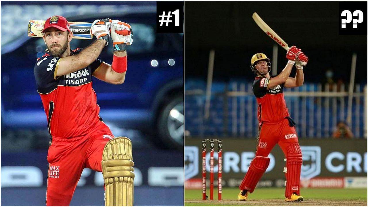 आरसीबी के बल्लेबाज ग्लेन मैक्सवेल और एबी डीविलियर्स