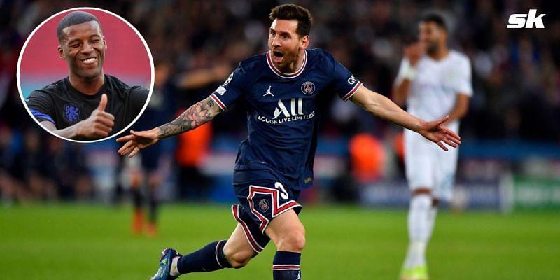 PSG forward Lionel Messi; (inset) Georginio Wijnaldum.