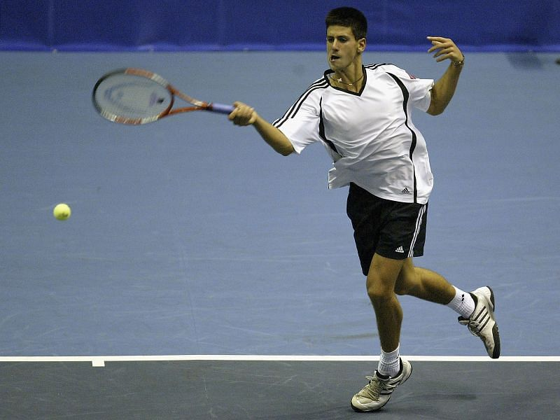 A 17-year-old Novak Djokovic playing in the 2004 Thailand Open