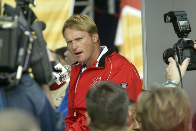 Jon Gruden during Super Bowl media day