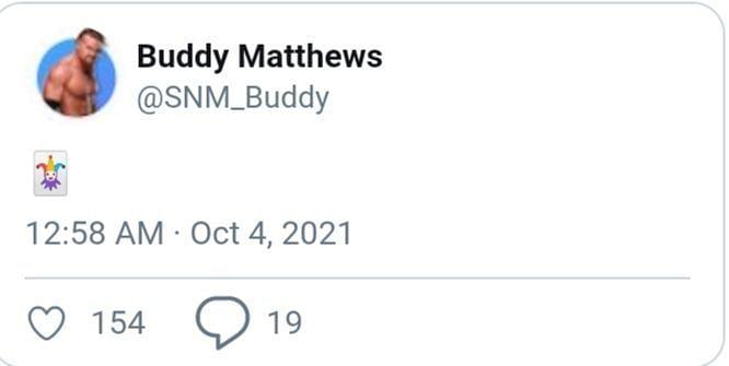 Una captura de pantalla del tweet ahora eliminado de Buddy Murphy