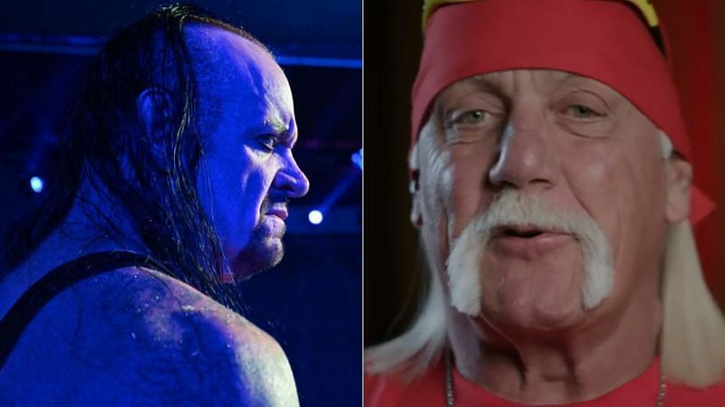 The Undertaker (left); Hulk Hogan (right)