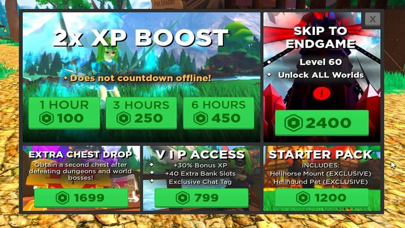 XP Boosts increase the amount of experience gained (Image via Roblox)