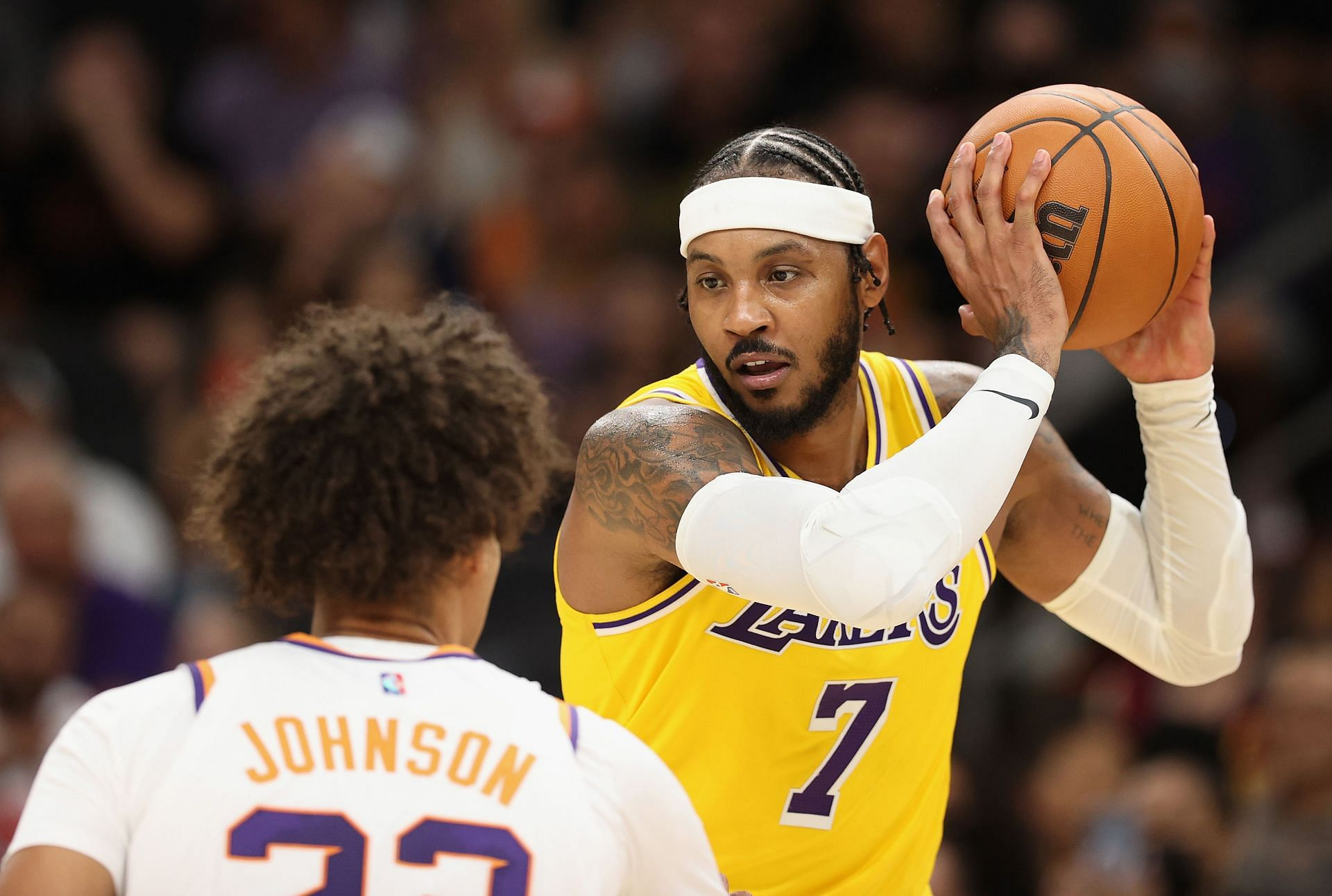 Carmelo Anthony in action during the LA Lakers vs Phoenix Suns game