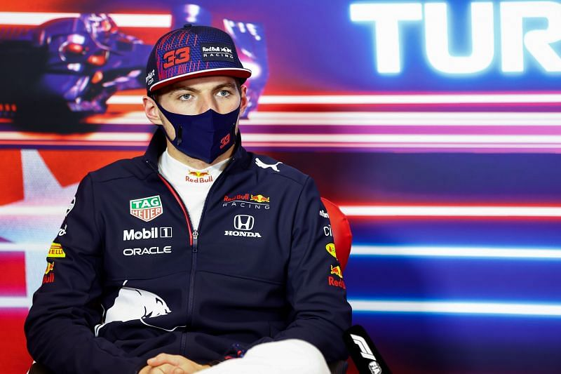 Second placed Max Verstappen of Red Bull Racing talks in the press conference after 2021 Turkish Grand Prix in Istanbul. (Photo by Andy Hone - Pool/Getty Images)
