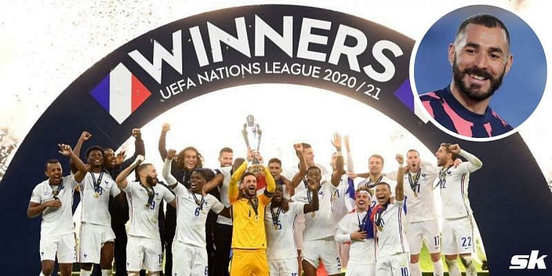 France celebrate their 2020-21 UEFA Nations League victory; (inset) Karim Benzema.