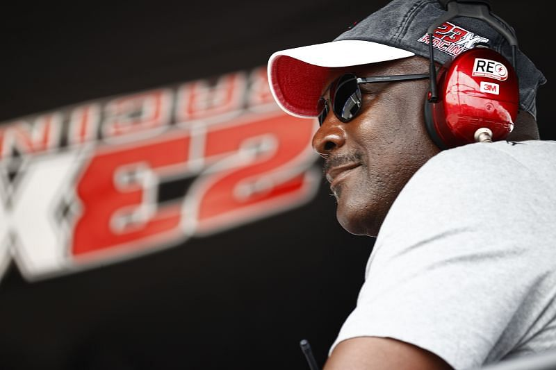 NBA Hall of Famer Michael Jordan and co-owner of 23XI Racing looks on from the 23XI Racing pit box.(Photo by Jared C. Tilton/Getty Images)
