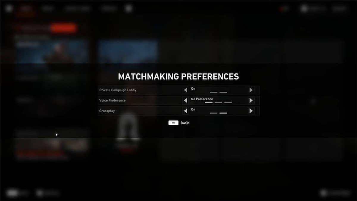 The Matchmaking Preferences menu. (Image via Turtle Rock Studios)