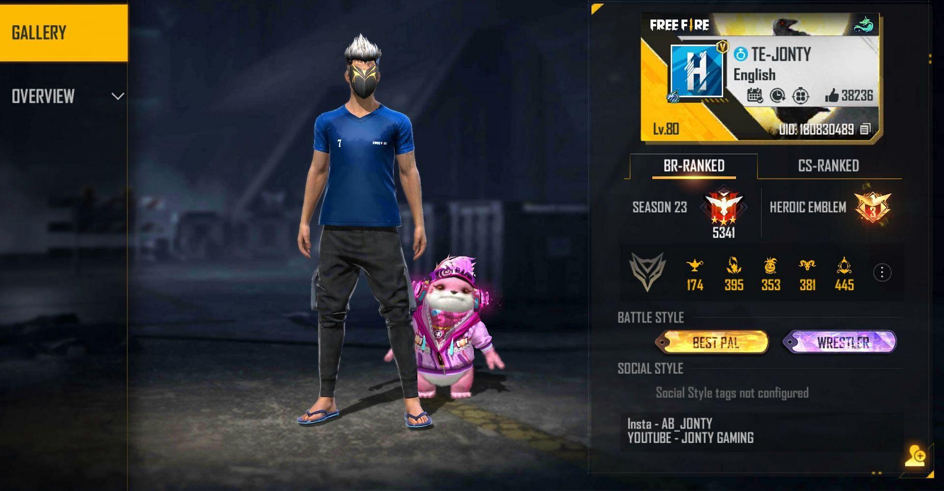 Jonty Gaming represents Team Elite (Image via Free Fire)