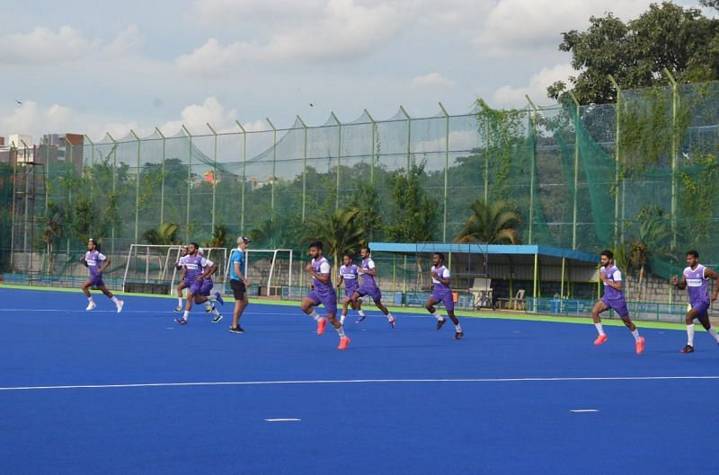 The Indian men's hockey team at a training session in SAI, Bengaluru on Monday. (PC: SAI)