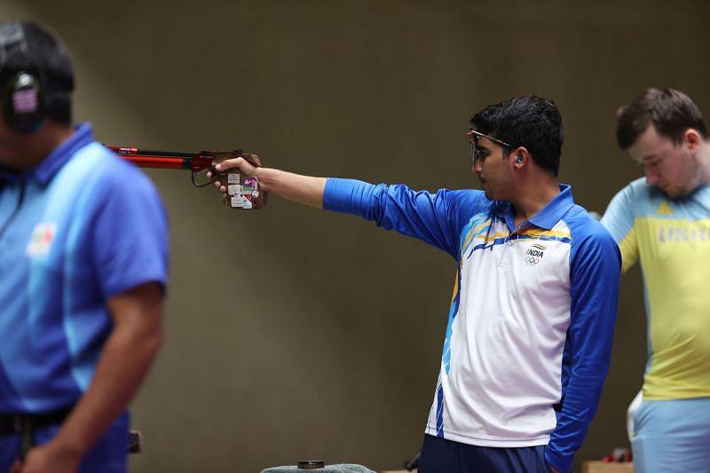 Saurabh Chaudhary in action at the Tokyo Olympics