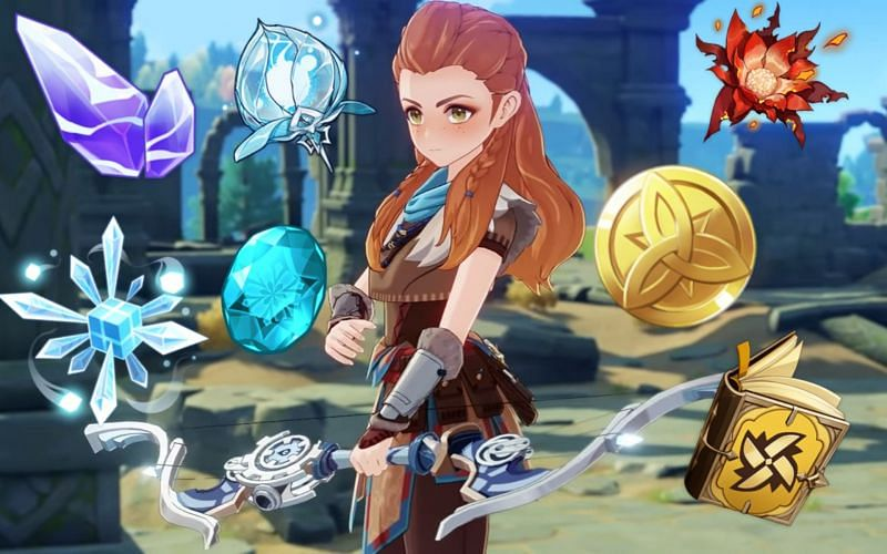 Genshin Impact's Aloy with her needed materials (Image via miHoYo)