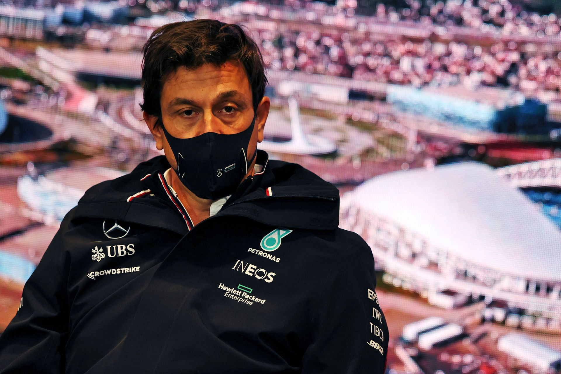 Mercedes GP Executive Director Toto Wolff talks in the Team Principals Press Conference during practice ahead of the 2021 Russian GP at Sochi Autodrome. (Photo by XPB - Pool/Getty Images)
