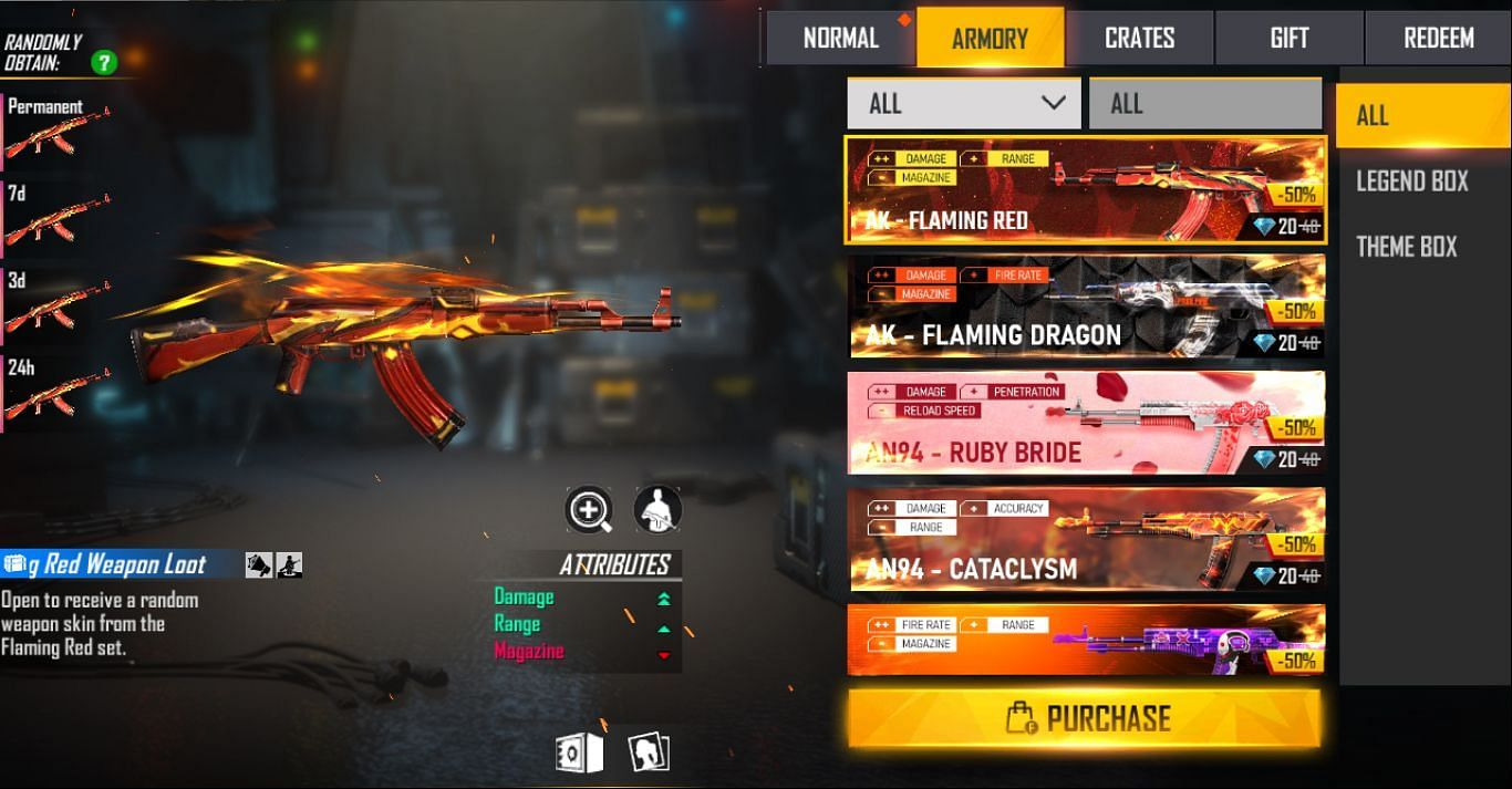 Users need to select the preferred loot crate and tap the purchase button (Image via Free Fire)