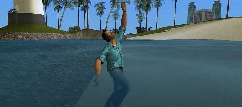 Tommy Vercetti can't swim (Image via Rockstar Games)