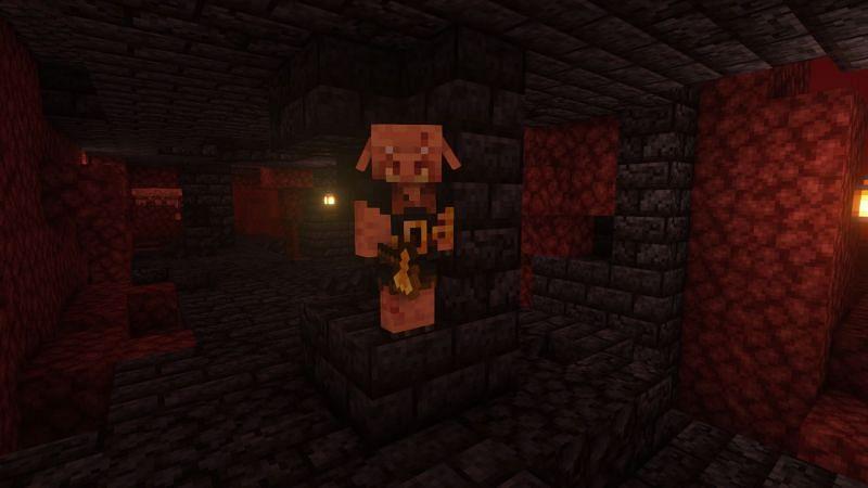 A piglin brute in a bastion (Image via Minecraft)