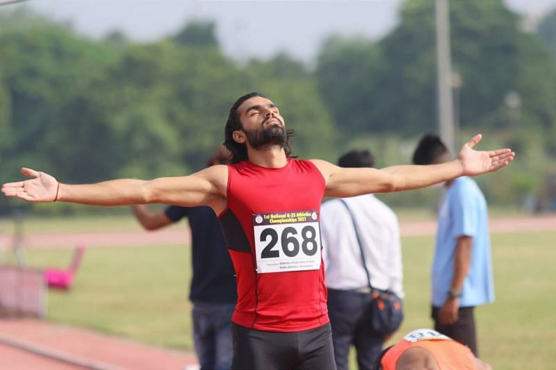 400m runner Ayush Dabas in action during an earlier race