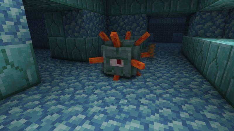 A guardian inside an ocean monument (Image via Minecraft)