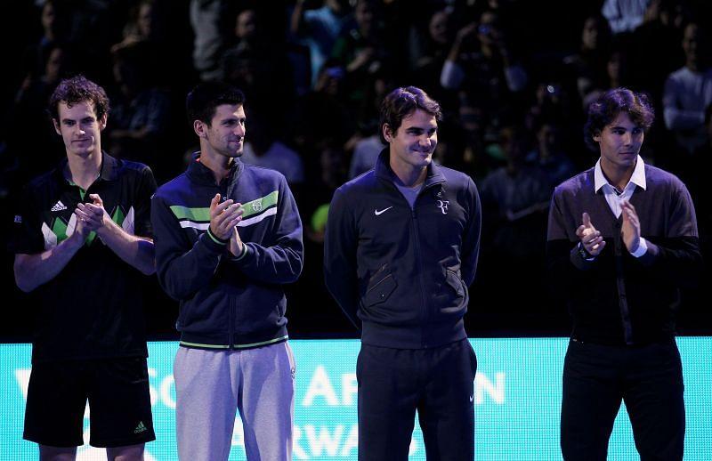 (L to R) Andy Murray, Novak Djokovic, Roger Federer, and Rafael Nadal