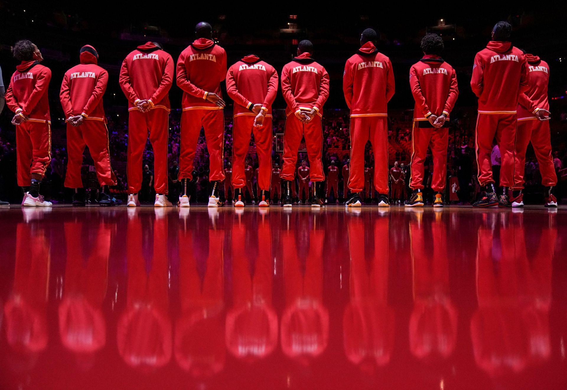 The Atlanta Hawks team introduction ahead of a game
