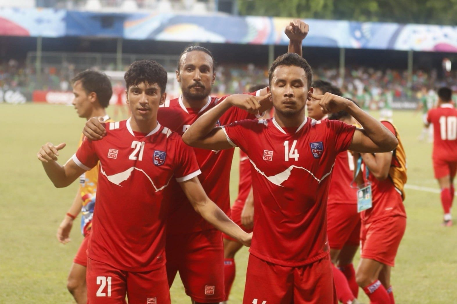 Nepal drew 1-1 with Bangladesh to advance to their first ever SAFF Championship final. (Image: SAFF)