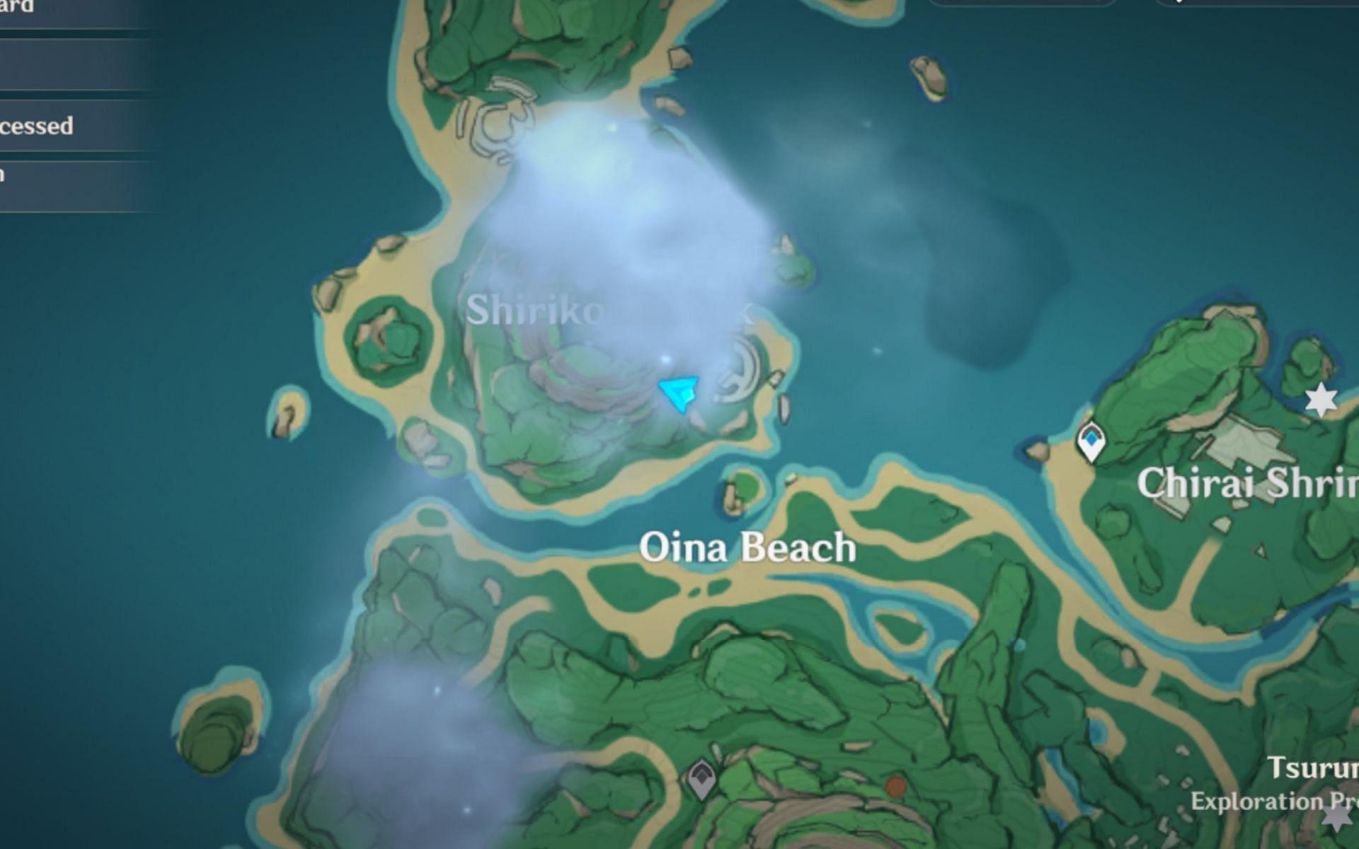Shirikoro Peak location on the map (Image via Genshin Impact)