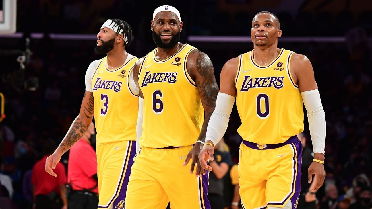 Anthony Davis, LeBron James and Russell Westbrook of the LA Lakers against the Golden State Warriors