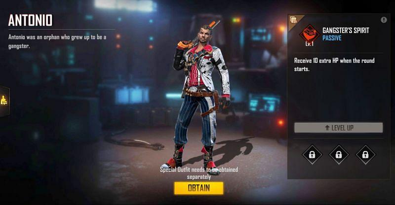 Antonio is suitable for Clash Squad mode (Image via Free Fire)