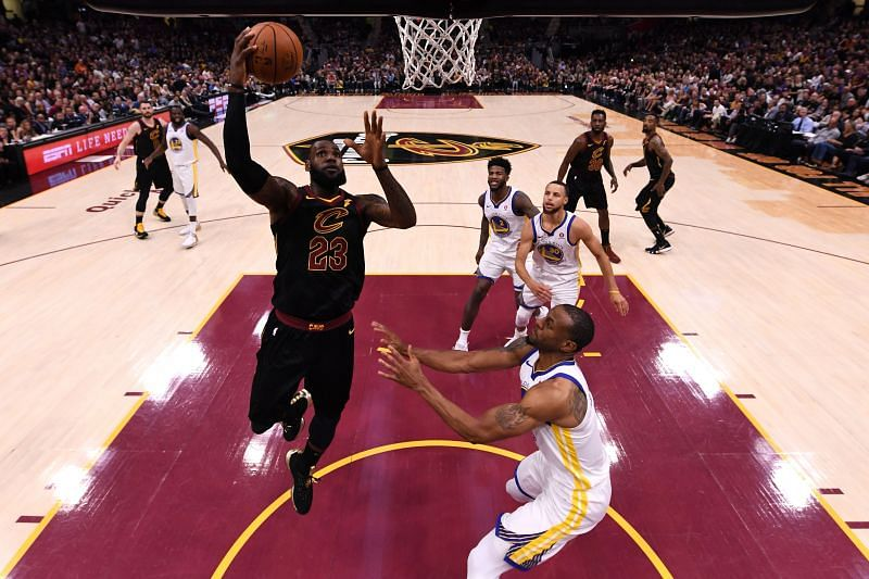 LeBron James shoots during the 2018 NBA Finals - Game Four.