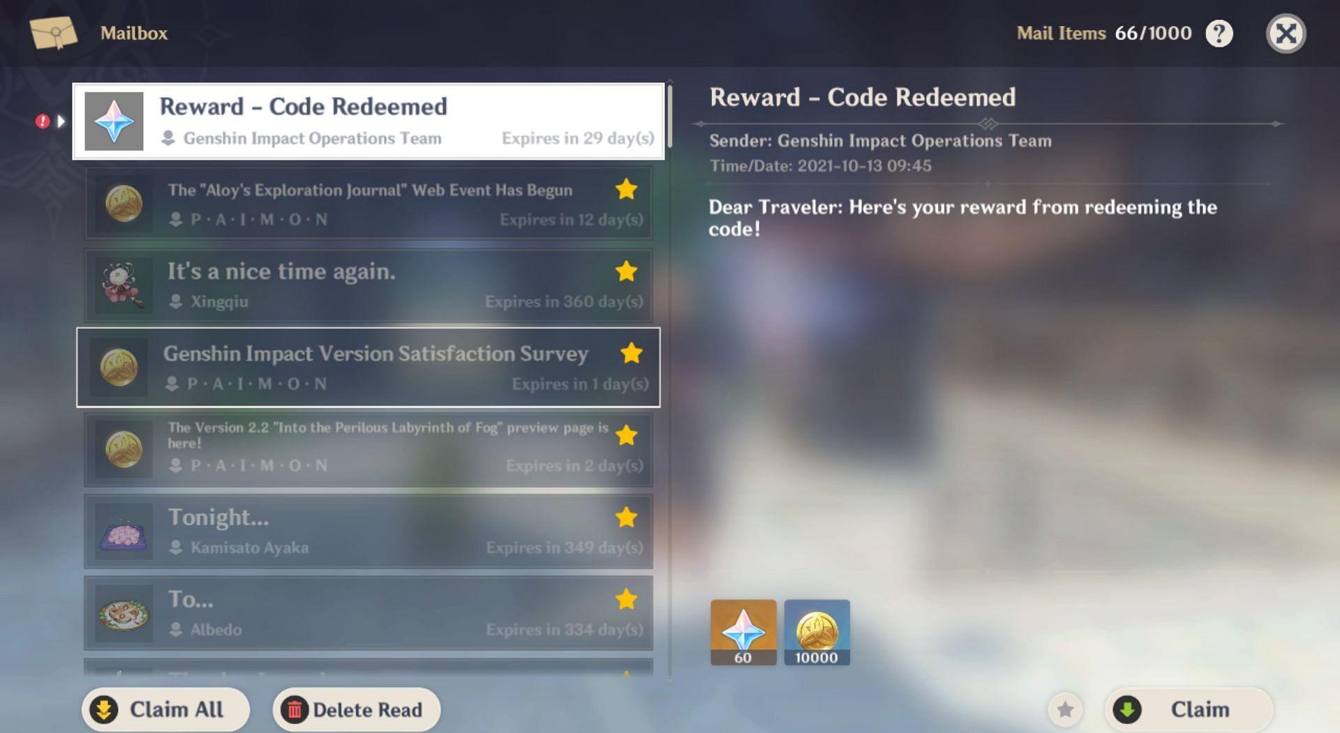New redeem code rewards in the mail (Image via Genshin Impact)