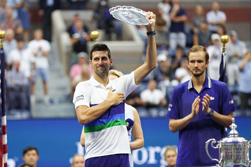 <a href='https://www.sportskeeda.com/player/novak-djokovic' target='_blank' rel='noopener noreferrer'>Novak Djokovic</a> at 2021 US Open - Day 14
