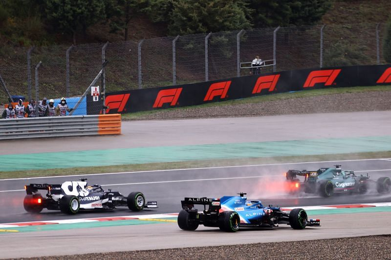 Fernando Alonso's first-corner collision in the Turkish Granresulted in a penalty for Gasly. Photo: Bryn Lennon/Getty Images