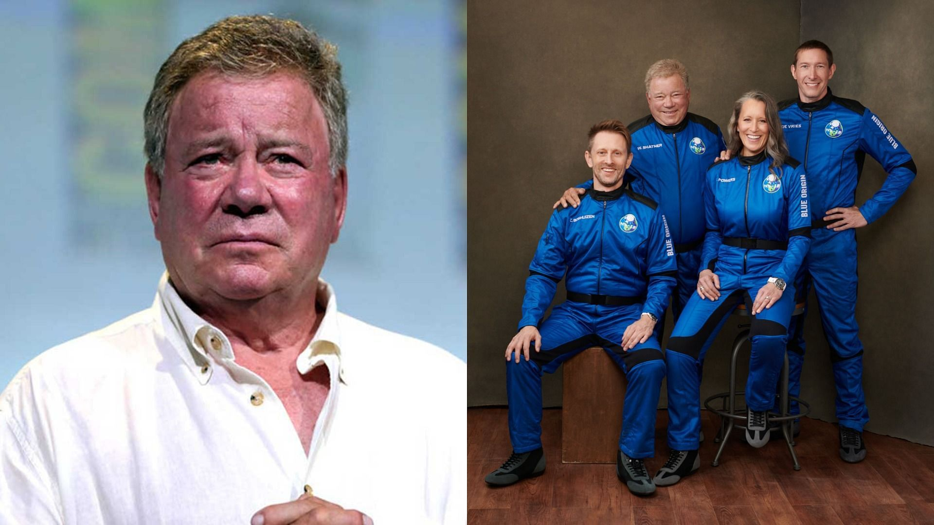 William Shatner is officially the oldest person to fly to space (Image via Getty Images and Blue Origin/Twitter)