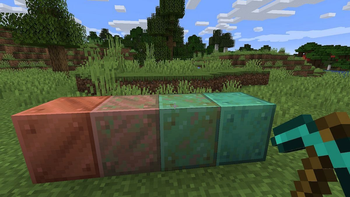 Copper oxidizes, and so would the new copper golem. Image via Minecraft