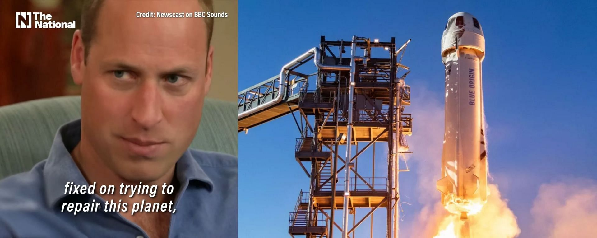 Prince William slamming the space race (Images via BBC Sounds and Blue Origin)