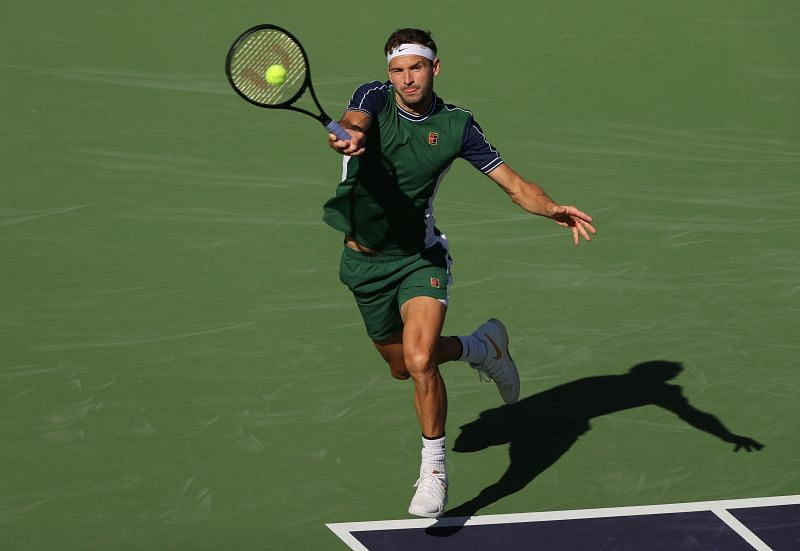 Grigor Dimitrov in action against Reilly Opelka