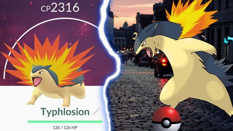 Typhlosion is currently a 3-star raid boss in Pokemon GO (Image via Niantic/Youtube user Clash with Cam).