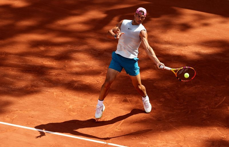 Rafael Nadal training at the 2021 French Open