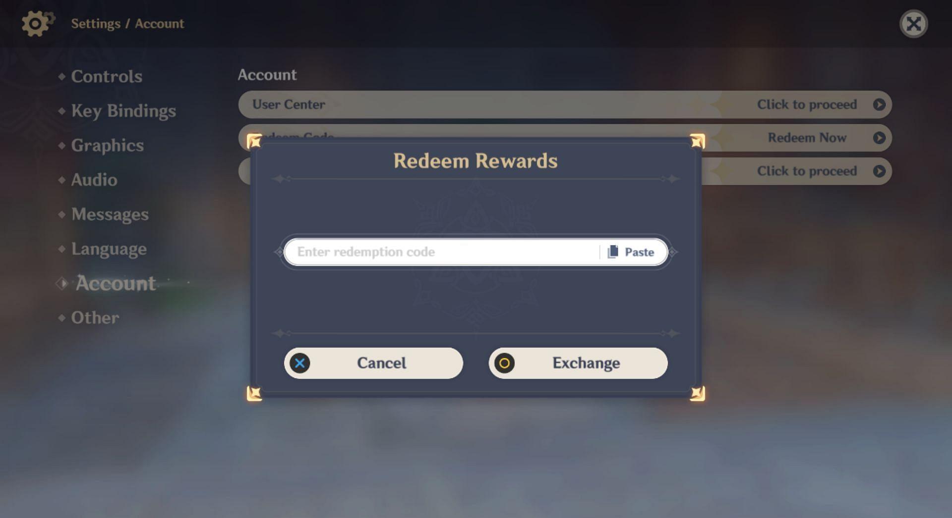 In-game redeem code prompt (Image via Genshin Impact)