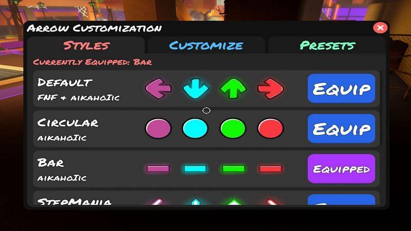 The arrow customization menu is easy to miss. (Image via Roblox)