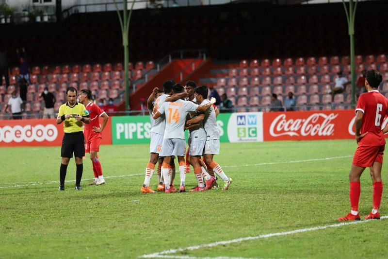 Indian players celebrate during their SAFF Championship 2021 victory over Nepal. (Credits: Indian Football Team Twitter)