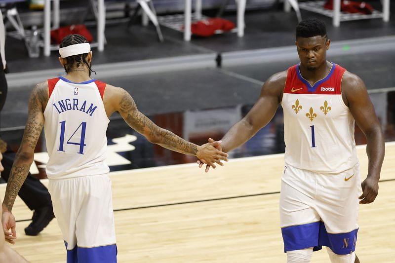 Brandon Ingram (#14) and Zion Williamson (#1) of the New Orleans Pelicans