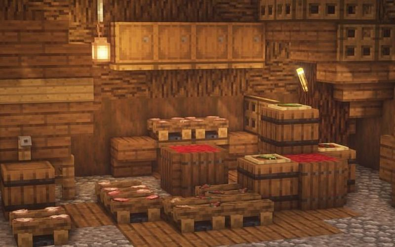 An image of a base that a player has decorated with barrels (Image via Minecraft)
