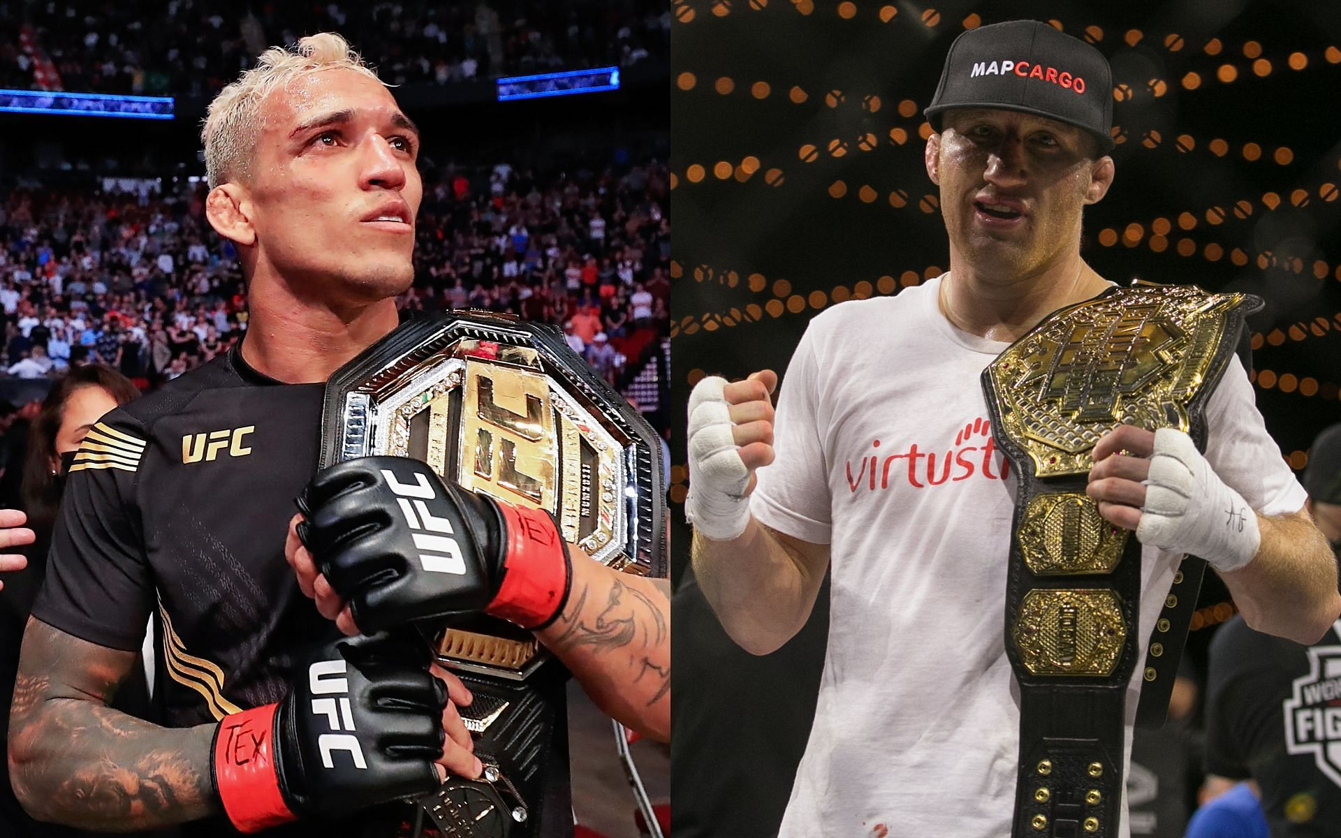 UFC lightweight stars Charles Oliveira (left) and Justin Gaethje (right)
