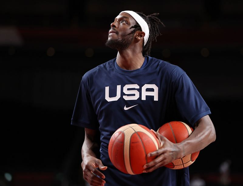 Jerami Grant played with members of the US national basketball team during the Tokyo Olympics.